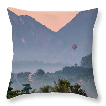 Throw Pillow featuring the photograph Hot Air Ballon In Laos by Nicole Young