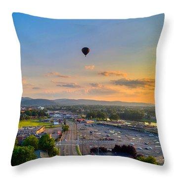 Hot Air Ballon Sunset Throw Pillow