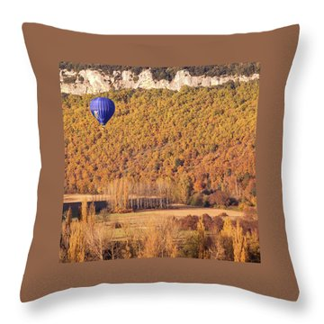 Throw Pillow featuring the photograph Hot Air Balloon, Beynac, France by Mark Shoolery