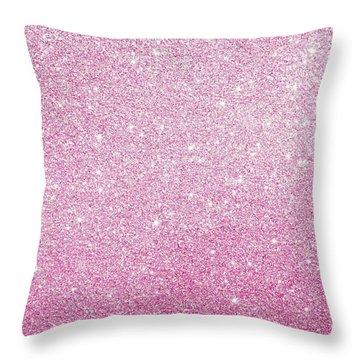 Hot Pink Glitter Throw Pillow