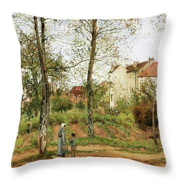 Houses At Bougival, Autumn - Digital Remastered Edition Throw Pillow