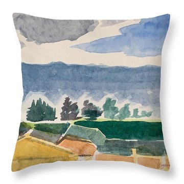 Houses, Trees, Mountains, Clouds Throw Pillow