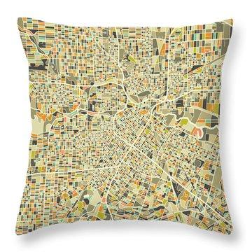 Houston Map 1 Throw Pillow