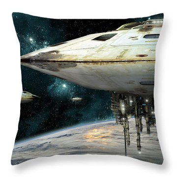 Hovering Motherships Throw Pillow