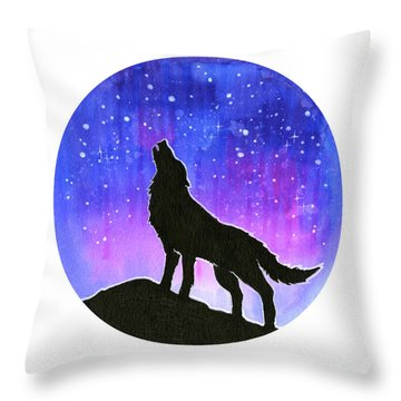 Howling Wolf Silhouette Galaxy Throw Pillow