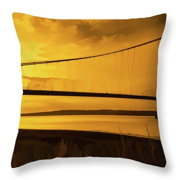Humber Bridge Golden Sky Throw Pillow