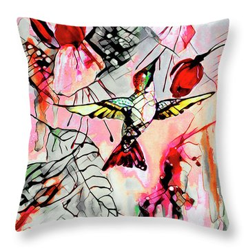 Hummingbird Abstract Modern Bird Art Throw Pillow