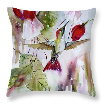 Hummingbird And Flowers Throw Pillow