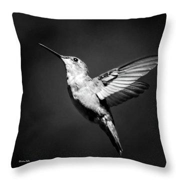 Hummingbird Flight Bw Square Throw Pillow