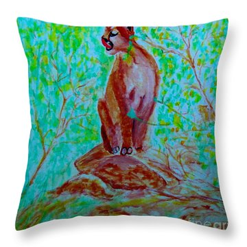 Hungry Mountain Lion Throw Pillow