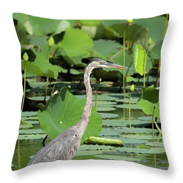 Hunting Among The Lotus Throw Pillow