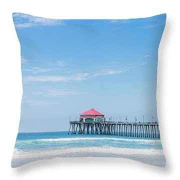Huntingdon Beach Pier, California Throw Pillow
