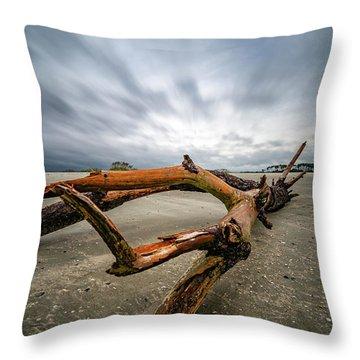 Hurricane Florence Beach Log - Portrait Throw Pillow