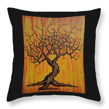 Throw Pillow featuring the drawing Hygge Love Tree by Aaron Bombalicki