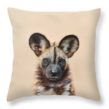 I Am A Wild Thing - African Painted Dog Throw Pillow