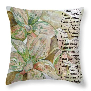 I Am...positive Affirmation In Coral And Green Throw Pillow