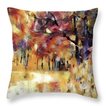 Throw Pillow featuring the mixed media I Dream Of Fall by Susan Maxwell Schmidt