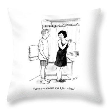 I Floss Alone Throw Pillow