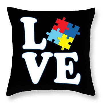 Throw Pillow featuring the digital art I Love Autism by Flippin Sweet Gear