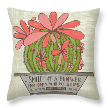 I Smile Like A Flower Rumi Quote Throw Pillow