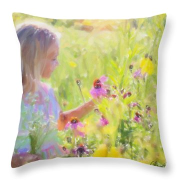 I Would Pick More Daisies ... Throw Pillow