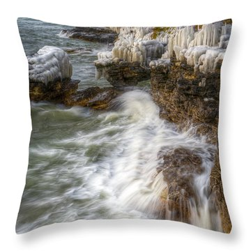 Ice And Waves Throw Pillow