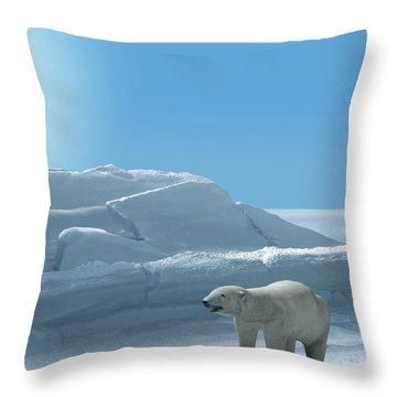 Ice Bear Hunting Polar Arctic Region Throw Pillow