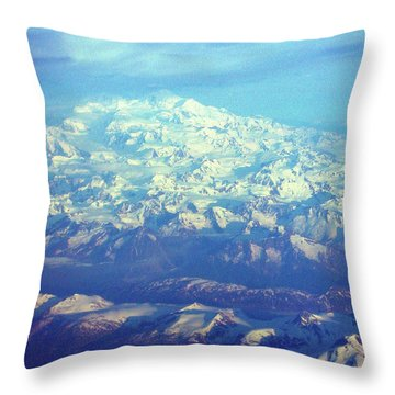 Ice Covered Mountain Top Throw Pillow