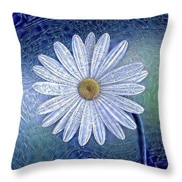 Ice Daisy Flower Throw Pillow