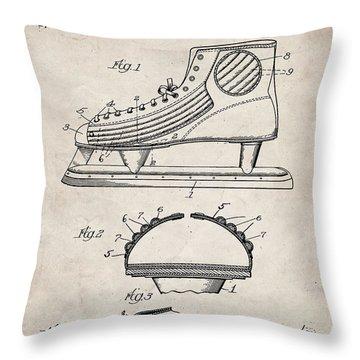 Ice Hockey Skates Patent, Ice Skates Art - Antique Vintage Throw Pillow