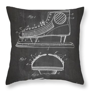Ice Hockey Skates Patent, Ice Skates Art - Chalkboard Throw Pillow