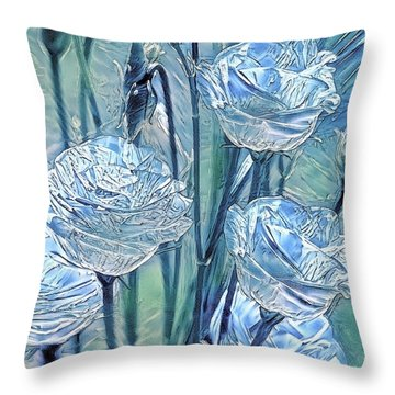 Ice Lisianthus Throw Pillow