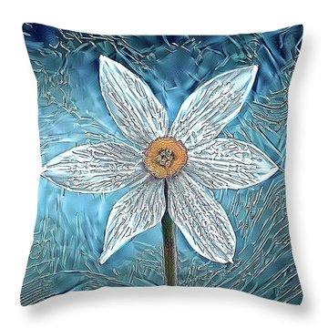 Ice Ornithogalum Throw Pillow