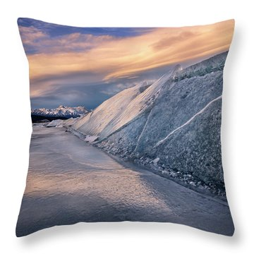 Ice Sheets On Abraham Lake Throw Pillow
