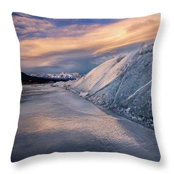 Ice Sheets On Abraham Lake Throw Pillow