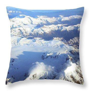 Icebound Mountains Throw Pillow