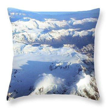 Icebound Mountains Throw Pillow