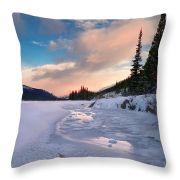 Icefields Parkway Winter Morning Throw Pillow