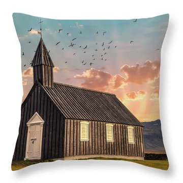 Iceland Chapel Throw Pillow