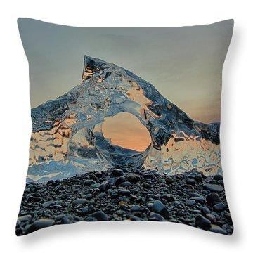 Iceland Diamond Beach Abstract  Ice Throw Pillow