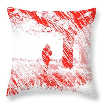 Icy Shards Fall On Setttled Snow Throw Pillow