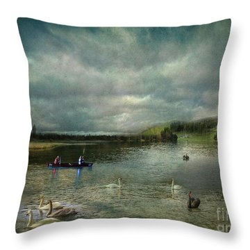 Idyllic Swans Lake Throw Pillow