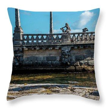 Iguana At Vizcaya Barge Throw Pillow