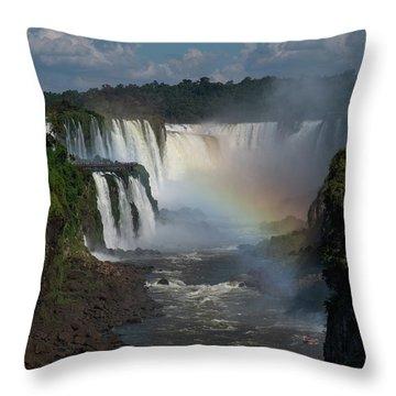 Iguazu Falls With A Rainbow Throw Pillow