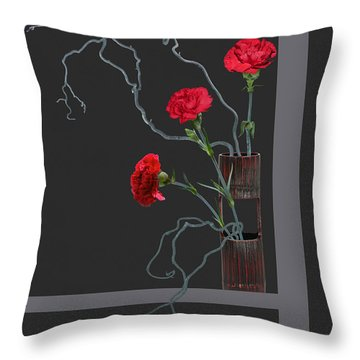 Red Carnations And Bamboo Vase Throw Pillow