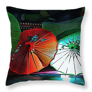 Throw Pillow featuring the photograph Illuminated Oriental Parasols by Dorothy Berry-Lound