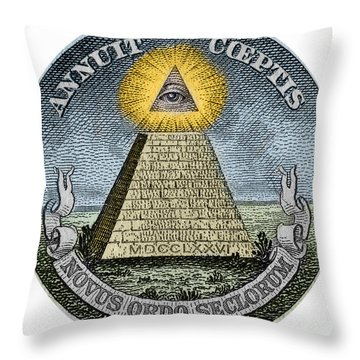 Illuminati   God The Pyramid And The Divine Eye At The Top Throw Pillow