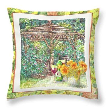 Illustrated Sunflower Picnic Throw Pillow