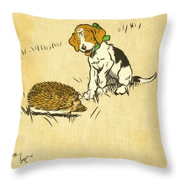 Puppy And Hedgehog, Illustration Of Throw Pillow