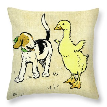 Illustration Of Puppy And Gosling Throw Pillow